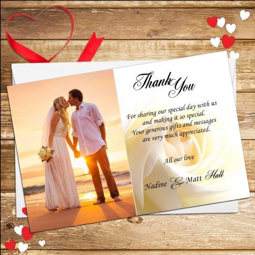 10 Personalised White Rose Wedding Thank you Photo cards N1